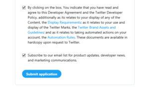 2つのチェックボックスにチェックを入れて「Submit application」をクリック